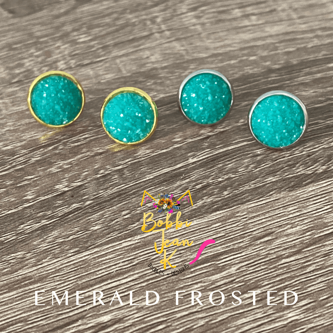 Emerald Frosted Faux Druzy Studs 12mm: Choose Silver or Gold Settings