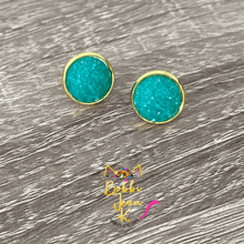 Load image into Gallery viewer, Emerald Frosted Faux Druzy Studs 12mm: Choose Silver or Gold Settings