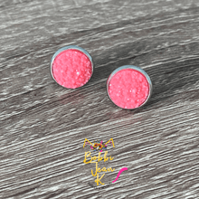 Load image into Gallery viewer, Watermelon Frosted Faux Druzy Studs 12mm: Choose Silver or Gold Settings