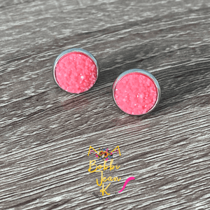 Watermelon Frosted Faux Druzy Studs 12mm: Choose Silver or Gold Settings