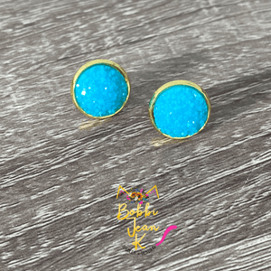 Coastal Blue Frosted Faux Druzy Studs 12mm: Choose Silver or Gold Settings