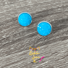 Load image into Gallery viewer, Coastal Blue Frosted Faux Druzy Studs 12mm: Choose Silver or Gold Settings