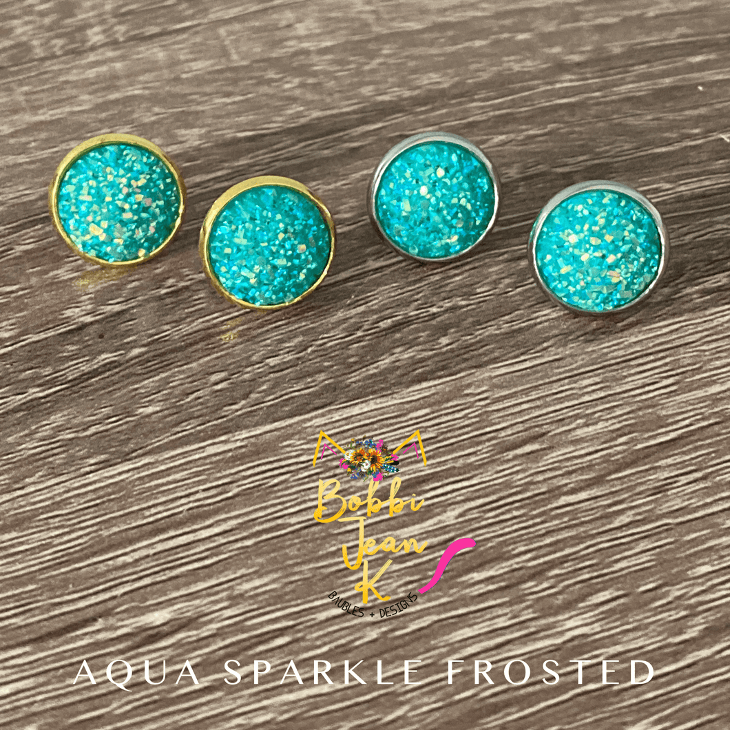 Aqua Sparkle Frosted Faux Druzy Studs 12mm: Choose Silver or Gold Settings