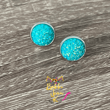 Load image into Gallery viewer, Aqua Sparkle Frosted Faux Druzy Studs 12mm: Choose Silver or Gold Settings