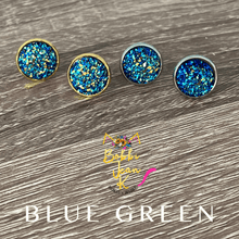 Load image into Gallery viewer, Blue Green Faux Druzy Studs 12mm: Choose Silver or Gold Settings