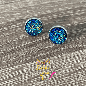 Blue Green Faux Druzy Studs 12mm: Choose Silver or Gold Settings