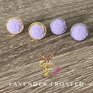 Lavender Frosted Faux Druzy Studs 12mm: Choose Silver or Gold Settings