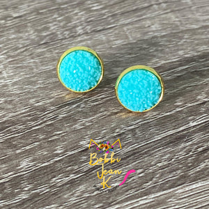 Sea Foam Frosted Faux Druzy Studs 12mm: Choose Silver or Gold Settings
