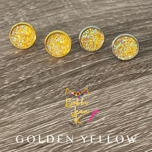 Load image into Gallery viewer, Golden Yellow Faux Druzy Studs 12mm: Choose Silver or Gold Settings