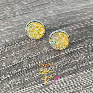 Golden Yellow Faux Druzy Studs 12mm: Choose Silver or Gold Settings