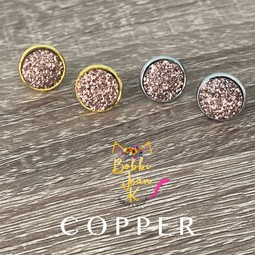 Copper Faux Druzy Studs 12mm: Choose Silver or Gold Settings