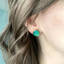 Load image into Gallery viewer, Lime Green Frosted Faux Druzy Studs 12mm: Choose Silver or Gold Settings