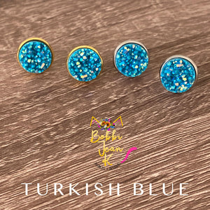 Turkish Blue Faux Druzy Studs 12mm: Choose Silver or Gold Settings