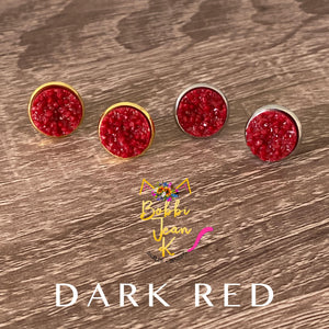 Dark Red Faux Druzy Studs 12mm: Choose Silver or Gold Settings