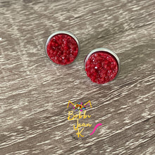 Load image into Gallery viewer, Dark Red Faux Druzy Studs 12mm: Choose Silver or Gold Settings