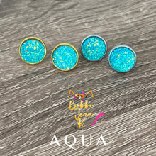 Load image into Gallery viewer, Aqua Faux Druzy Studs 12mm: Choose Silver or Gold Settings