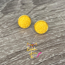 Load image into Gallery viewer, Yellow Frosted Faux Druzy Studs 12mm: Choose Silver or Gold Settings