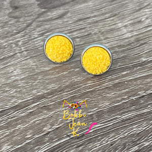 Yellow Frosted Faux Druzy Studs 12mm: Choose Silver or Gold Settings