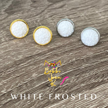Load image into Gallery viewer, White Frosted Faux Druzy Studs 12mm: Choose Silver or Gold Settings
