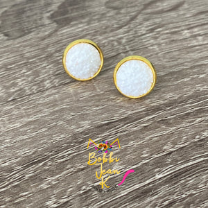 White Frosted Faux Druzy Studs 12mm: Choose Silver or Gold Settings