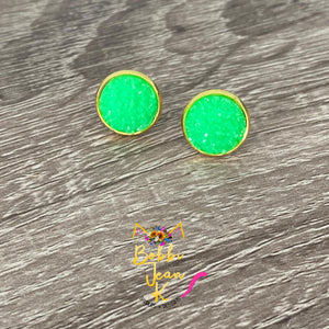 Lime Green Frosted Faux Druzy Studs 12mm: Choose Silver or Gold Settings