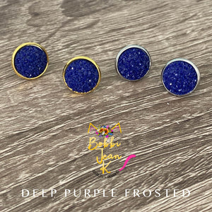 Deep Purple Frosted Faux Druzy Studs 12mm: Choose Silver or Gold Settings
