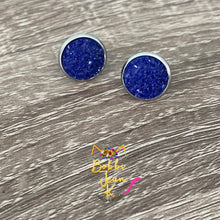 Load image into Gallery viewer, Deep Purple Frosted Faux Druzy Studs 12mm: Choose Silver or Gold Settings