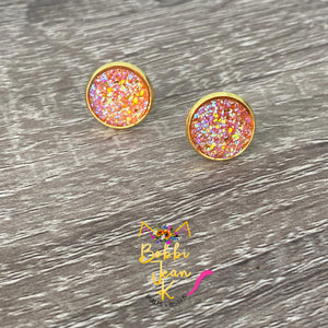 Orange Faux Druzy Studs 12mm: Choose Silver or Gold Settings