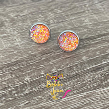 Load image into Gallery viewer, Orange Faux Druzy Studs 12mm: Choose Silver or Gold Settings