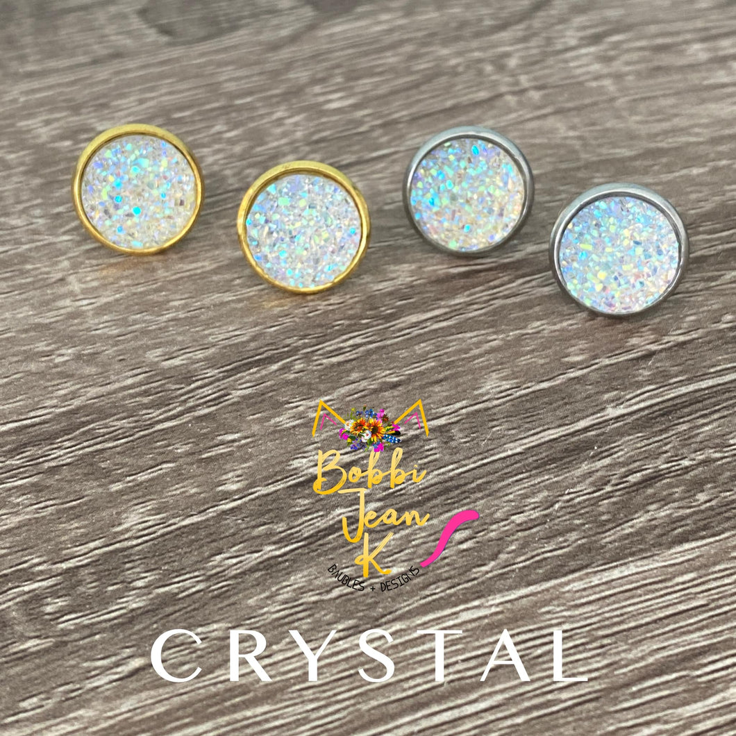 Crystal Faux Druzy Studs 12mm: Choose Silver or Gold Settings