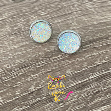 Load image into Gallery viewer, Crystal Faux Druzy Studs 12mm: Choose Silver or Gold Settings