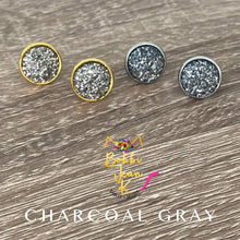Load image into Gallery viewer, Charcoal Gray Faux Druzy Studs 12mm: Choose Silver or Gold Settings