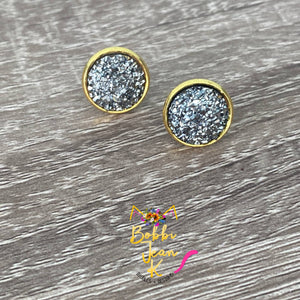 Charcoal Gray Faux Druzy Studs 12mm: Choose Silver or Gold Settings