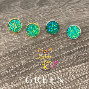 Green Faux Druzy Studs 12mm: Choose Silver or Gold Settings