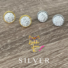 Load image into Gallery viewer, Silver Faux Druzy Studs 12mm: Choose Silver or Gold Settings