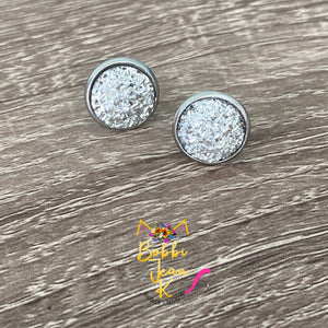 Silver Faux Druzy Studs 12mm: Choose Silver or Gold Settings