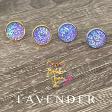 Load image into Gallery viewer, Lavender Faux Druzy Studs 12mm: Choose Silver or Gold Settings