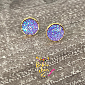 Lavender Faux Druzy Studs 12mm: Choose Silver or Gold Settings