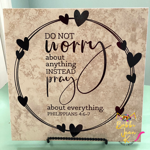 Prayer Circle Decorative Ceramic Tile- Philippians 4:6-7