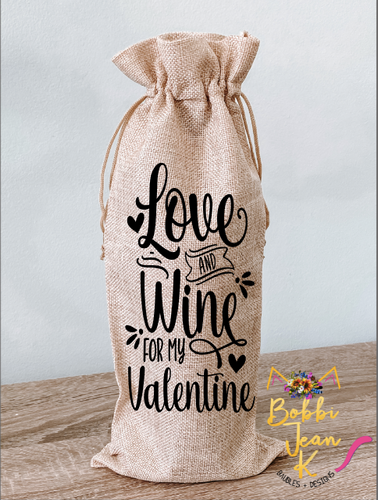 Love and Wine For My Valentine Wine Bag