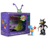 KIDROBOT x THE SIMPSONS - ITCHY & SCRATCHY ACTIONFIGUREN IN TV DIORAMA
