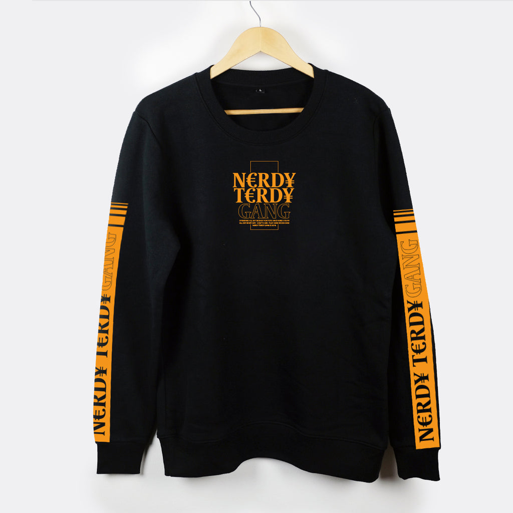 NTG CLASSICS - ¥€N CREWNECK BLACK & ORANGE