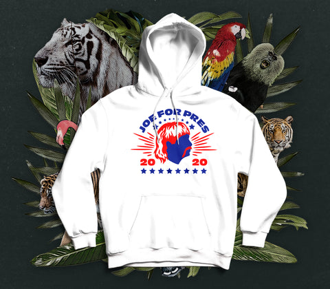 NERDY TIGRE GANG - JOE FOR PRES HOODIE WEISS