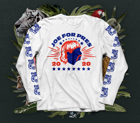 NERDY TIGRE GANG - JOE FOR PRES LONGSLEEVE WEISS