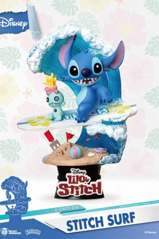 DISNEY SUMMER SERIES D-STAGE PVC DIORAMA SURFER STITCH 15CM
