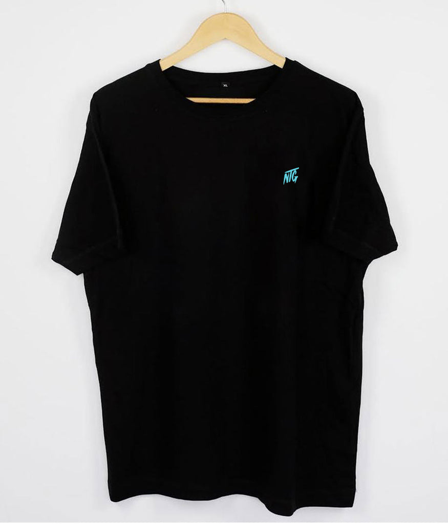 NTG DELUXE - STITCHED LOGO 2.0 SHIRT BLACK & TURQUOIS (PRE-ORDER)
