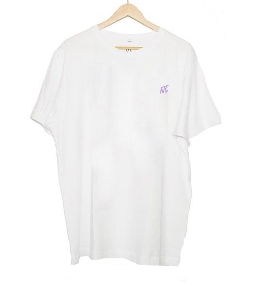 NTG DELUXE - STITCHED LOGO 2.0 SHIRT WHITE & PURPLE (PRE-ORDER)