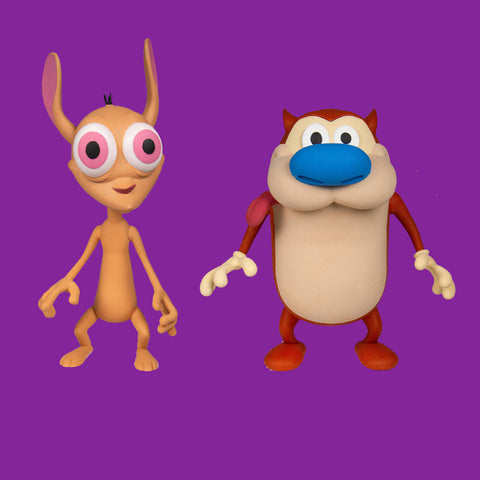 SUPER 7 - NICKELODEON - REN & STIMPY - BEIDE FIGUREN IM SET! (DELUXE VERSION)