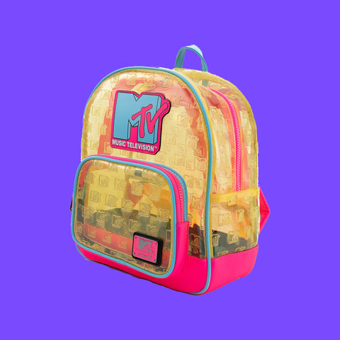 LOUNGEFLY - MTV CLEAR NEON PVC MINI BACKPACK