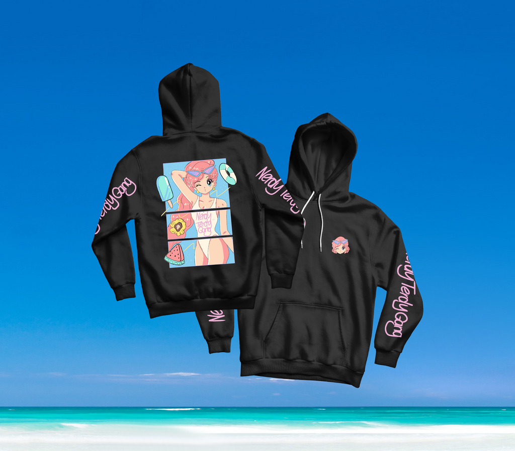 SUMMER IN OKINAWA - DAY AT THE BEACH HOODIE SCHWARZ